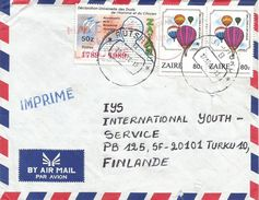 Zaire Congo 1990 Rutshuru French Revolution Human Rights Hot Air Balloon Cover - 1990-96: Oblitérés
