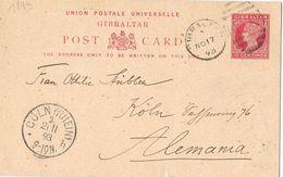 25590. Entero Postal GIBRALTAR 1893 A Koln (Alemania), Gride A26 - Gibilterra