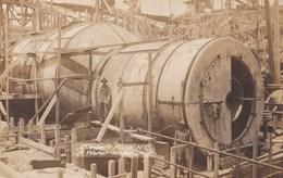 RARE Carte PHOTO Vers 1910 BLEWETT FALLS N.C ,A WATER-WHEEL UNIT / Construction D'un Barrage ? - Etats-Unis