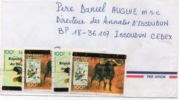Bénin 2001 Lettre Vers La France Timbres Surchargés Se Chevauchant Faune Buffles Et Canards Timbres Sur Timbres 01272 - Benin – Dahomey (1960-...)