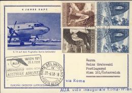 1958-Vaticano Cat.Pellegrini N.866 € 85, AUA I°volo Roma Vienna Del 28 Giugno Su Cartolina Postale Austriaca - Aéreo