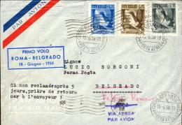 1956-Vaticano Aerogramma Bollo I°volo Roma Belgrado Del 16 Giugno - Aéreo