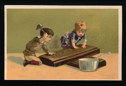 CHROMO FOND DORE  - ENFANTS , CHOCOLAT   - FOND DORE - LIJMREST RUGZIJDE - RESTE DE COLLE - Liebig