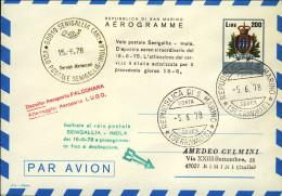 1978-San Marino Aerogramma L.200 Volo Postale Senigallia Imola Con Il Decollo Dall'aeroporto Falconara Atterraggio All'a - San Marino