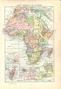 Carte Générale De L'Afrique (recto) Illustration Sur L'Afrique (verso) Larousse 1907 - Vieux Papiers
