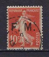 """FR Franchise YT 5 """" Semeuse Surchargé 10c. Rouge """" 1906-07 Oblitéré - Franchise Militaire (timbres)"""