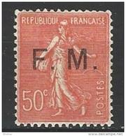 """FR Franchise YT 6 """" Semeuse Lignée 50c. Rouge """" 1929 Neuf* - Franchise Militaire (timbres)"""