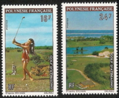 Fr Polynesia,  Scott 2017 # 275-276,  Issued 1974,  Set Of 2,  MNH,  Cat $ 19.00,  Golf - Unused Stamps