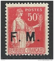 "FR Franchise YT 7 "" Paix Surch. 50c. Rose-rouge "" 1933 Neuf** - Militärpostmarken"