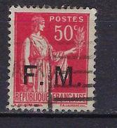 """FR Franchise YT 7 """" Paix Surchargé 50c. Rose-rouge """" 1933 Oblitéré - Franchise Militaire (timbres)"""
