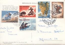 SAN MARINO - 5 Sondermarken Auf Ak Secondo A Terzo Torre, Gel.1962? - San Marino