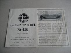 DEPLIANT   PUBLICITAIRE  VOITURES ZEDEL  1922  1923 - Publicidad