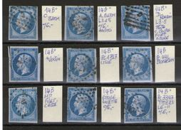 Lot De 9 N°14° Type 2__ Cote 54.00 - 1853-1860 Napoleon III