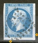 N°14° Type 2 _sur Azuré Avec 2 Voisins - 1853-1860 Napoleon III