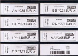 8 ATMs, BROTHER, PREFIXES, AA / BB/ CC / DD /  IP. NOUVEAU PAPIER LARGE AVEC CODE DATAMATRIX. - 2010-... Viñetas De Franqueo Illustradas