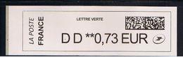 ATM, BROTHER, DD 0.73€. NOUVEAU PAPIER BLANC LARGE 112/30, AVEC CODE DATAMATRIX ET PREFIXES. - 2010-... Viñetas De Franqueo Illustradas