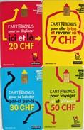 TELECARTES.SUISSE.cartes Prépayées Ticket De Bus Et Tramways. Geneve.LOT DE 4.collection Complète. - Tramways