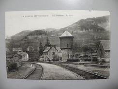 A440. CPA. 15. THIEZAC. La Gare.  Beau Plan Animé .ecrite 1922 - France
