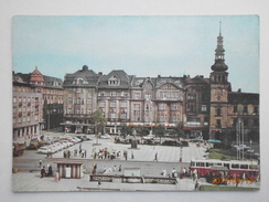 Postcard Ostrava Workers Militia Square Animated People Cars Trolley Bus My Ref B21905 - Czech Republic
