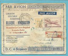 """710+LP9 Op Brief Aangetekend """"par Avion"""" BRUXELLES - HINDOUSTAN / BOMBAY / DELHI.... Met RETOUR - Poste Aérienne"""