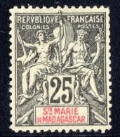 Groupe 25  Cent. Yv 8 (*)  Faux De Fournier - Madagascar – Sainte-Marie (1894-1898)