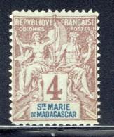 Groupe 4  Cent. Yv 3 *   Faux De Fournier - Madagascar – Sainte-Marie (1894-1898)