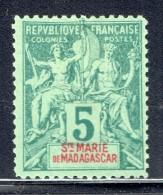 Groupe 5  Cent. Yv 4 (*)   Faux De Fournier - Madagascar – Sainte-Marie (1894-1898)