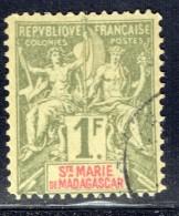Groupe  1 Fr.  Yv 13  Oblitéré   Faux De Fournier - Madagascar – Sainte-Marie (1894-1898)