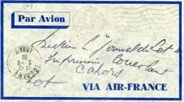 Cachet  Annam  Par Avion Via Air Mail Au Dos Timbre Indochine    Dossier Factures 8 - Postmark Collection (Covers)