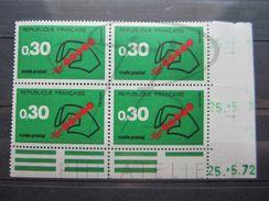 """VEND BEAUX TIMBRES DE FRANCE N° 1719 EN BLOC DE 4 COIN DATE """" 72 """" , DATE REPETEE , XX !!! - Coins Datés"""
