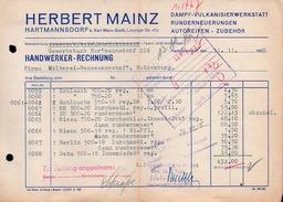 A6785 - Alte Rechnung - Hartmannsdorf - Herbert Mainz - Dampf Vulkanisierwerkstatt 1958 - Germany