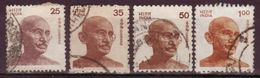 INDE - 1977 /1991 - YT N° 567 + 626 + 751 + 1085 - Oblitérés - Gandhi - Gebruikt