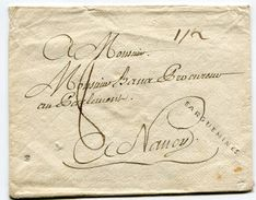 MOSELLE De SARREGUEMINES Env. Pour NANCY Avec Marque Lenain N°4 SARGUEMINES Dimension 38x2 Mm Taxe De 8 - Marcophilie (Lettres)