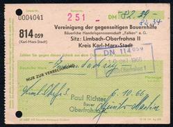 A6799 - Alte Rechnung - Quittung - Limbach Oberfrohna Bauernhilfe 1966 Hartmannsdorf - Bank & Versicherung