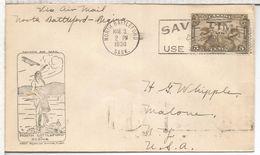 CANADA 1930 AIR MAIL FIRST FLIGHT NORTH BATTLEFORD REGINA INDIO NATIVO AL DORSO LLEGADA - American Indians