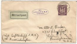 ALEMANIA 1924 CC ZEPPELIN ZR3 A USA AL DORSO LLEGADA LOS ANGELES ZEPPELIN - Zeppelins
