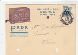 Pecq ,carte Publicitaire , Delrue;électricité,T.S.F.,  FADA   Radio - Doornik