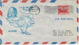 USA First Flight AM 82 Alpine Texas - Fort Stockton 15-4-1948 - Etats-Unis