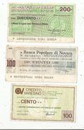 Chèque , Assegno Circolare , ITALIE  , 2 Scans, 200 -100 Et 100 Lire , LOT DE 3 CHEQUES - [10] Scheck Und Mini-Scheck