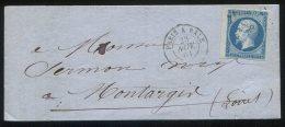 N° 14 Bdf + Losange PB + Ambulant De Nuit Paris à Bâle/lettre  De Troyes Pour Montargis (loiret) - 1853-1860 Napoleon III