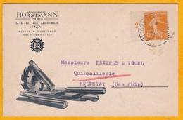 1922 - CP Commerciale Illustrée De Paris Vers Sélestat - Affrt 5 C Semeuse Millésime Seul - Cad Paris Transit - Cartas