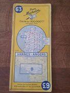 Ancienne Carte Routière Michelin N°63 - Vannes - Angers - Cartes Routières