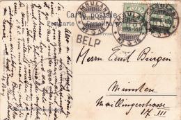 Oblitération Linéaire Sur Carte Postale : BELP - Svizzera