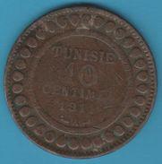 TUNISIE 10 Centimes 1329 (1911) A Muhammad Al-Nasir Protectorat Français - Tunesien