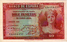 BILLETE DE 10 PESETAS -CERTIFICADO DE PLATA AÑO 1935 - 10 Pesetas