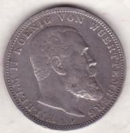 WÜRTTEMBERG. 3 Mark 1909 F , Wilhelm II, En Argent, KM# 635 - [ 2] 1871-1918: Deutsches Kaiserreich