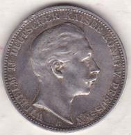 PRUSSIA. 3 Mark 1909 A , Wilhelm II , En Argent, KM# 527 - [ 2] 1871-1918 : Empire Allemand