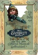 2 Trade Cards Pub. The Everett Piano  The Choise Of The Cultured Musical  Anno 1893  Litho - Other