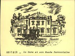TRAINS - GUITRES 33 - Feuillet Dessiné Par Teyssendier - Musée Ferroviaire - Vieux Papiers
