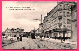 Boulogne Sur Mer - Le Quai Gambetta Et L'Hôtel De Paris Windsor Réunis - Tramways - Charrette - Animée - MTIL - A.C. 280 - Boulogne Sur Mer